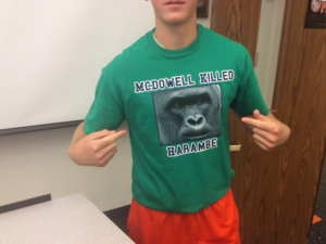 Trent Robinson uses the emotional appeal of Harambe to cast a shadow upon rival McWho with a T-shirt